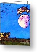 Full Moons Greeting Cards - The Cow Jumped Over The Moon . Painterly Greeting Card by Wingsdomain Art and Photography