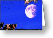 Humour Digital Art Greeting Cards - The Cow Jumped Over The Moon . Square Greeting Card by Wingsdomain Art and Photography