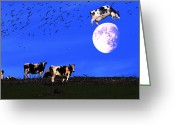 Humour Digital Art Greeting Cards - The Cow Jumped Over The Moon Greeting Card by Wingsdomain Art and Photography