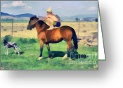 Gold Lame Painting Greeting Cards - The cowboy Greeting Card by Odon Czintos