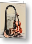 Violin Digital Art Greeting Cards - The Cowboys Dresser Greeting Card by Bill Cannon