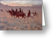 Pioneers Greeting Cards - The Cowpunchers Greeting Card by Frederic Remington