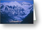 Winter Views Greeting Cards - The Cozy Lighted Village Of Telluride Greeting Card by Paul Chesley