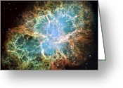 Interstellar Clouds Photo Greeting Cards - The Crab Nebula Greeting Card by Stocktrek Images