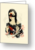 Ink Greeting Cards - The Crane Wife Greeting Card by Budi Satria Kwan