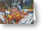 Louisiana Seafood Greeting Cards - The Crawfish Boil Greeting Card by Dianne Parks