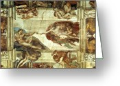 Fresco Greeting Cards - The Creation of Adam Greeting Card by Michelangelo