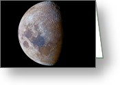 Lunar Mare Greeting Cards - The Crescent Moon Past First Quarter Greeting Card by Luis Argerich
