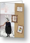 Rabbit Prints Greeting Cards - The Critic Greeting Card by Michel  Keck