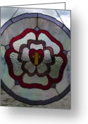 Panel Glass Art Greeting Cards - The Cross  Heart and Rose a stained glass panel Greeting Card by Carl Correll