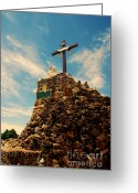Landmarks Of Usa Greeting Cards - The Cross II in the Grotto in Iowa Greeting Card by Susanne Van Hulst