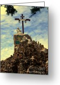 Landmarks Of Usa Greeting Cards - The Cross III in the Grotto in Iowa Greeting Card by Susanne Van Hulst