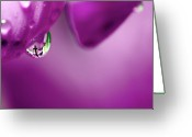 Card Art Greeting Cards - The Cross in Reflective Purple Water Drop Greeting Card by Laura Mountainspring