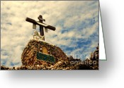 Landmarks Of Usa Greeting Cards - The Cross in The Grotto in Iowa Greeting Card by Susanne Van Hulst