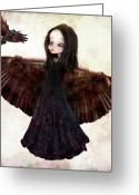 Jessica Grundy Greeting Cards - The Crow Greeting Card by Jessica Grundy