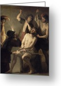 Jesus Painting Greeting Cards - The Crowning with Thorns Greeting Card by Jan Janssens