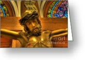 Jesus Christ Icon Greeting Cards - The Crucifiction of Jesus of Nazareth Greeting Card by Lee Dos Santos