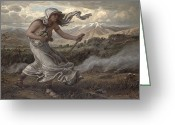 Snow Capped Painting Greeting Cards - The Cumaean Sibyl Greeting Card by Elihu  Vedder