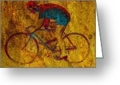Cyclist Greeting Cards - The Cyclist Greeting Card by Andrew Fare
