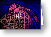 Riders Greeting Cards - the Cyclone at Coney Island Greeting Card by George Pedro
