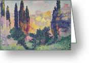 Pointillist Painting Greeting Cards - The Cypresses at Cagnes Greeting Card by Henri-Edmond Cross