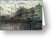 1871 Greeting Cards - The Dam at Zaandam Greeting Card by Claude Monet 