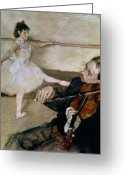 Young Pastels Greeting Cards - The Dance Lesson Greeting Card by Edgar Degas