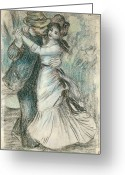 To Kiss Greeting Cards - The Dance Greeting Card by Pierre Auguste Renoir