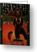 Slavic Painting Greeting Cards - The Dancing Bear is Far From Home Greeting Card by Anzhelika Lychik