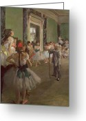 Rehearsal Greeting Cards - The Dancing Class Greeting Card by Edgar Degas