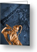 Sheet Music Digital Art Greeting Cards - The Dancing Flutist Greeting Card by Judi Quelland