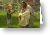 Jesus With Children Greeting Cards - The Dandelion Greeting Card by Greg Olsen