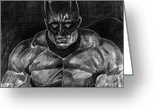 Muscular Drawings Greeting Cards - The Dark Knight - Batman Greeting Card by David Lloyd Glover