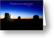 Butte Greeting Cards - The darkest hour..... Greeting Card by Jane Rix