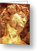 Digital Prints Greeting Cards - The David By Michelangelo Greeting Card by Juan Jose Espinoza