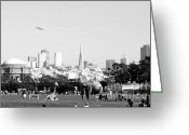 Black And White Photos Digital Art Greeting Cards - The Day The Circus Came to Town in Black and White Greeting Card by Wingsdomain Art and Photography