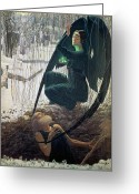 Black Wings Greeting Cards - The Death and the Gravedigger Greeting Card by Carlos Schwabe
