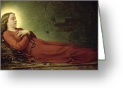 Rosary Greeting Cards - The Death of Germaine Cousin the Virgin of Pibrac Greeting Card by Alexandre Grellet