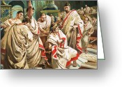 Julius Greeting Cards - The death of Julius Caesar  Greeting Card by C L Doughty