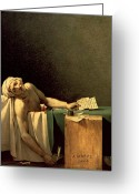 Royalty Greeting Cards - The Death of Marat Greeting Card by Jacques Louis David