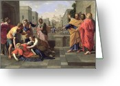 Poussin Greeting Cards - The Death of Sapphira Greeting Card by Nicolas Poussin