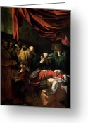 Virgin Maria Greeting Cards - The Death of the Virgin Greeting Card by Caravaggio
