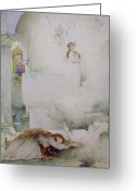 Watercolor On Paper Greeting Cards - The Death of the Virgin Greeting Card by Guillaume Dubufe