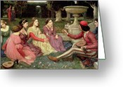 Listening Greeting Cards - The Decameron Greeting Card by John William Waterhouse
