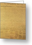 Signed Painting Greeting Cards - The Declaration of Independence Greeting Card by Founding Fathers