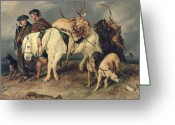 Hounds Greeting Cards - The Deerstalkers Return Greeting Card by Sir Edwin Landseer
