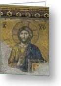 Byzantine Greeting Cards - The Dees mosaic in Hagia Sophia Greeting Card by Ayhan Altun