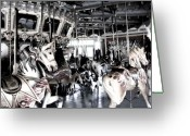 History Pyrography Greeting Cards - The Dentzel Carousel - Glen Echo Park Greeting Card by Fareeha Khawaja
