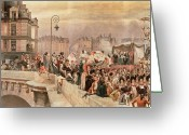 Urban Watercolour Greeting Cards - The Departure of the Volunteers 1792 Greeting Card by Jean Baptiste Edouard Detaille