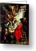 Rubens Painting Greeting Cards - The Descent from the Cross Greeting Card by Peter Paul Rubens